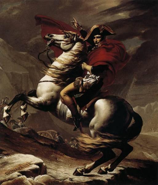Bonaparte Calm on a Fiery Steed Crossing the Alps